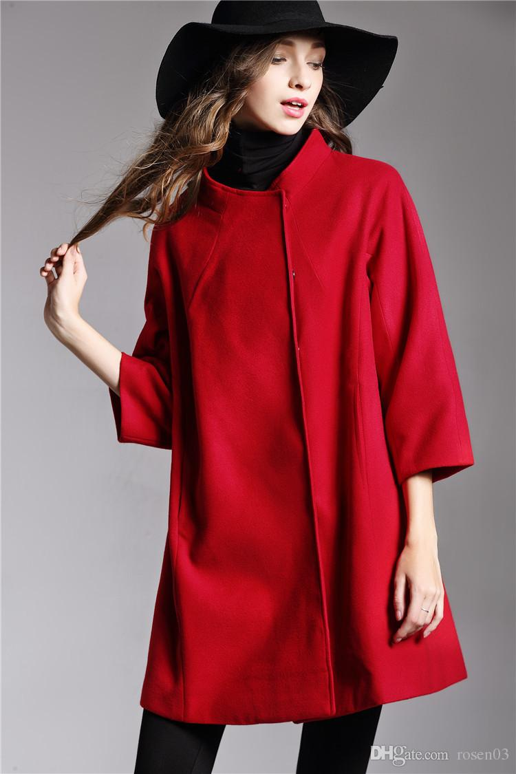 d1944a6e7b93 Autumn And Winter New Women s Solid Color Jacket Round Neck Low-cut ...