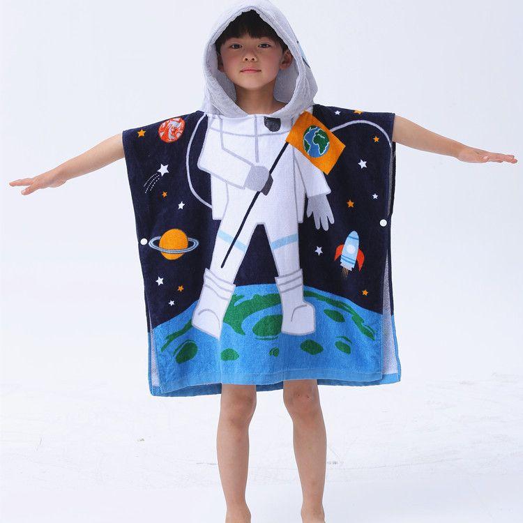 Home Hooded Poncho Beach Bath Towel Kids Children's Boys Girls Blue Pink 100% Cotton The Latest Fashion