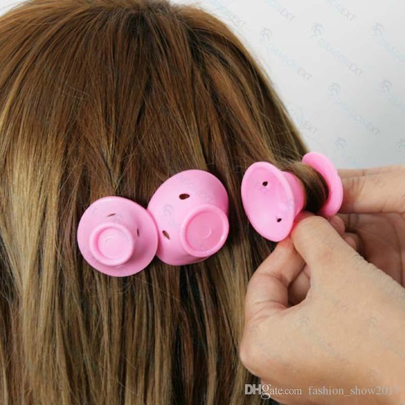 Bigodino magico di gomma morbida Bigodino di capelli fai da te Strumenti lo styling dei capelli Viaggi Uso domestico Trucco Strumento di bellezza Bigodino in silicone morbido rosa
