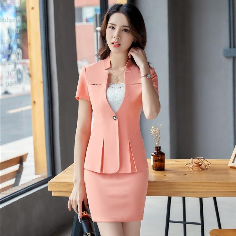 54fe0b76a5090 2019 Fashion Pink 2018 Summer Uniform Designs Formal Blazers Suits With  Tops And Skirt For Ladies Career Interview Job Sets From Yakima, $64.09    DHgate.Com