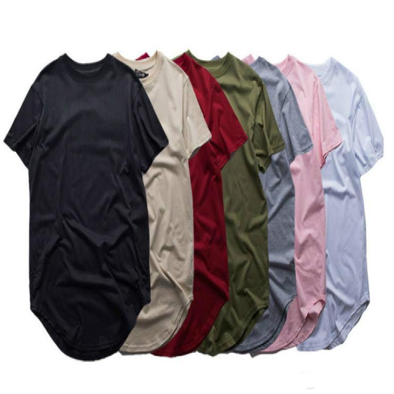 b101a47ae8e06 Fashion Men Extended T Shirt Longline Hip Hop Tee Shirts Women ...