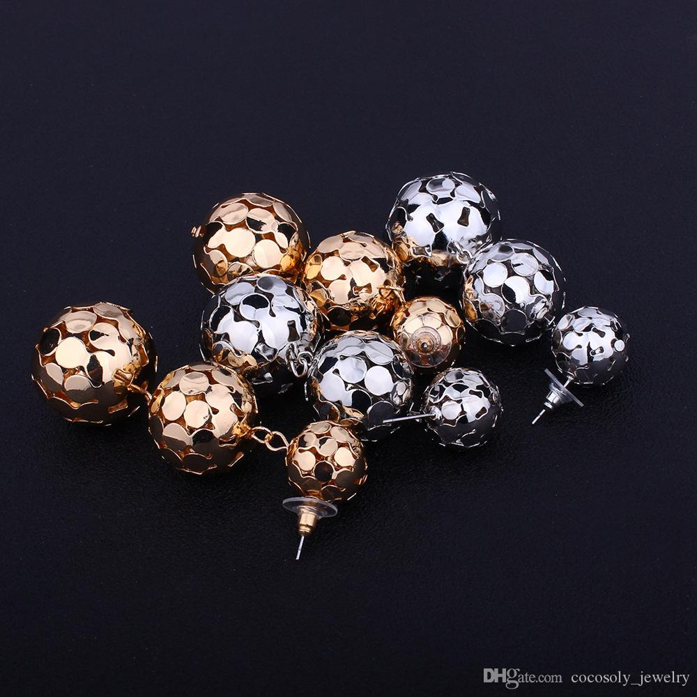 2018 New hot sale wholesale Jewelry woman lady Silver/Gold long hollow ball pendant designer fashion earring
