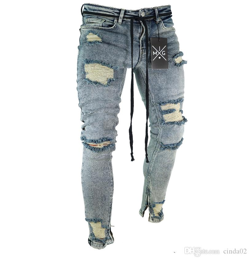 High Street Jeans For Men Cool Wear Clothes Ripped Grey Long Pencil Pants Trousers Male Slim Pants