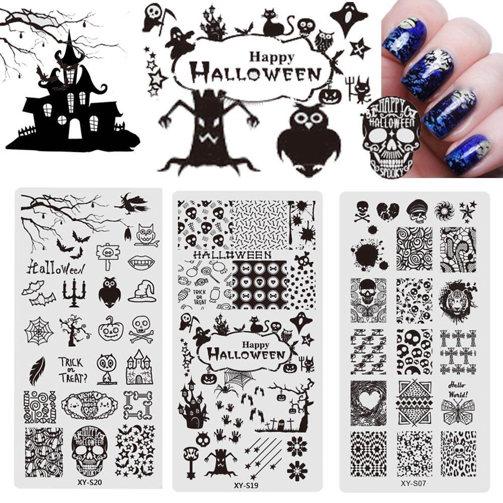 Halloween stamping plates nail art templates new 2017 stainless halloween stamping plates nail art templates new 2017 stainless steel ghosts skulls pumpkin crow stencils polish tools chxysxye design nail art nail art maxwellsz