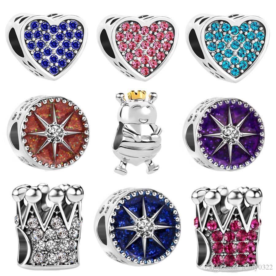 Ücretsiz kargo Avrupa 925 Gümüş Büyüleyici Starlight Taç kalp alien karınca krallık boncuk charms fit orijinal pandora bilezik diy takı