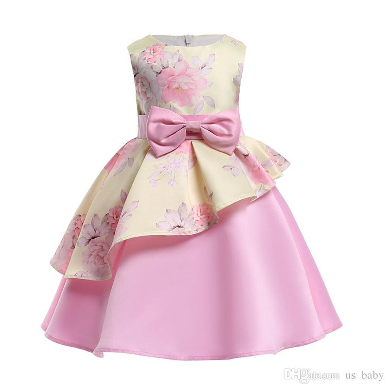 ef7fd19973 Compre Niñas Irregulares Vestido De La Flor Del Bebé Del Desfile Elegante  Princesa Vestido De Fiesta De Los Niños Del Vestido De Bola Del Vestido De  Bola es ...