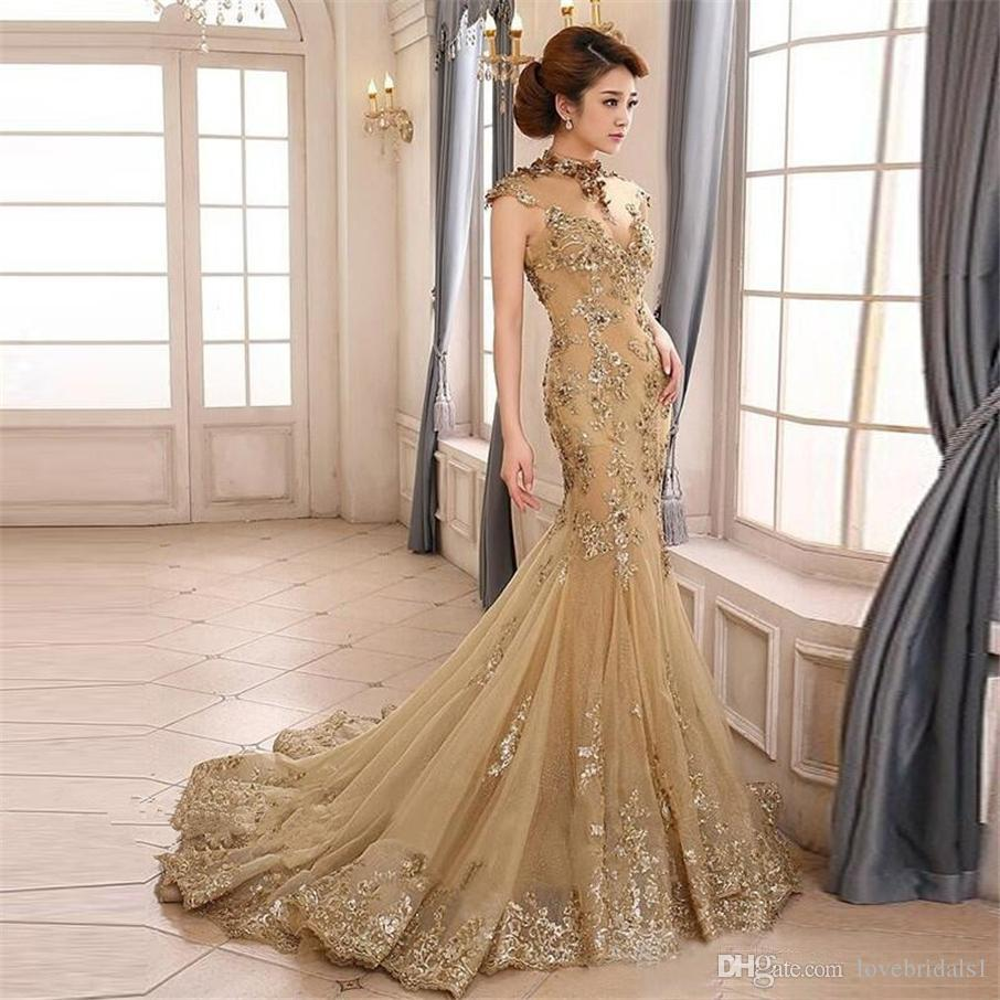 4a00538eba Vintage Sheer High Collar Champagne Mermaid Prom Dress Cutouts Backless Cap  Sleeve Evening Dress With Sequined Appliques Cheap Prom Dresses Prom Dresses  Uk ...