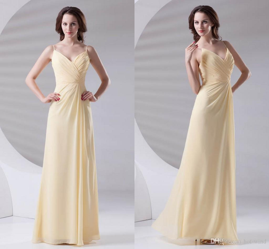 1ae4b6ab118 Daffodil Sexy Spaghetti Straps Chiffon Long Bridesmaid Dresses Ruched Split  Formal Wedding Guest Maid Of Honor Prom Dresses ZPT433 Online with  102.4  Piece ...
