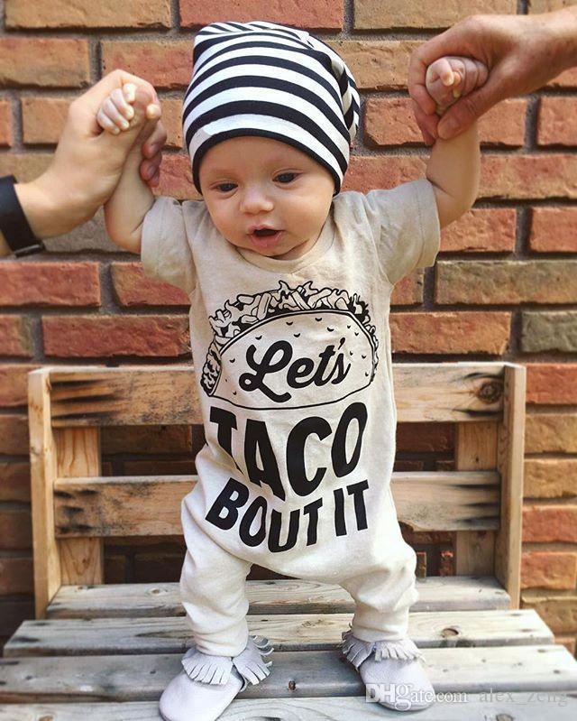 2018 Baby Pagliaccetto Neonato Lettera Stampa Tuta Ragazza Ragazzo Moda Estate Autunno Abiti Toddlers manica lunga bambini Abbigliamento