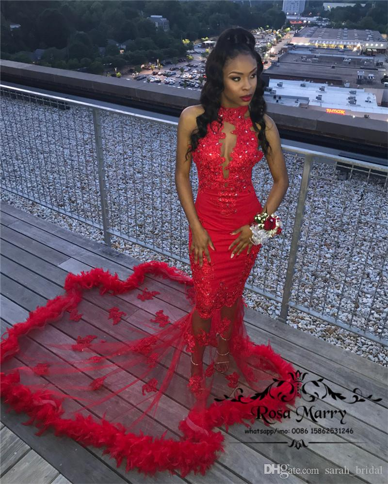 a818352ab0 Sexy Red Feather Mermaid Prom Dresses 2K18 Plus Size Vintage Lace Sequined  Beaded African Arabic Girls Formal Graduation Evening Party Gowns Teen Prom  Dress ...