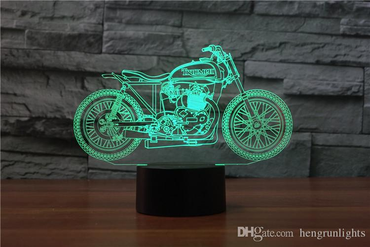 3D Printmotorcycle USB LED Rechargeable Novelty Touch Sensor Table Desk lamp Creative Night light Decor Birthday Gift
