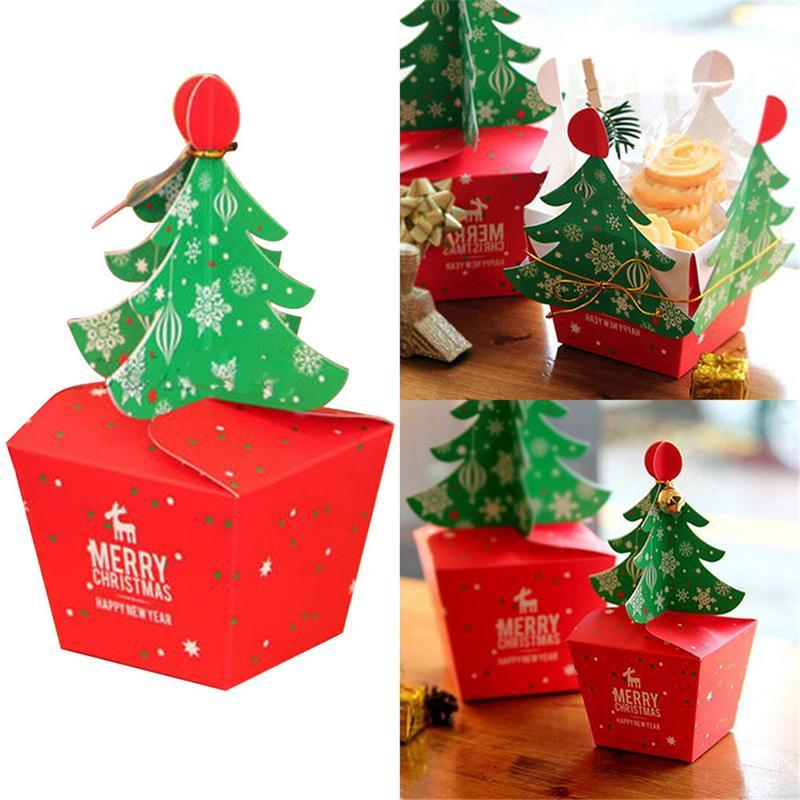 3pcs Pack Christmas Tree Shape Gift Packing Box Cupcakes Dessert Cookies Candy Gift Paper Box Xmas Eve Apple With Bells Rope