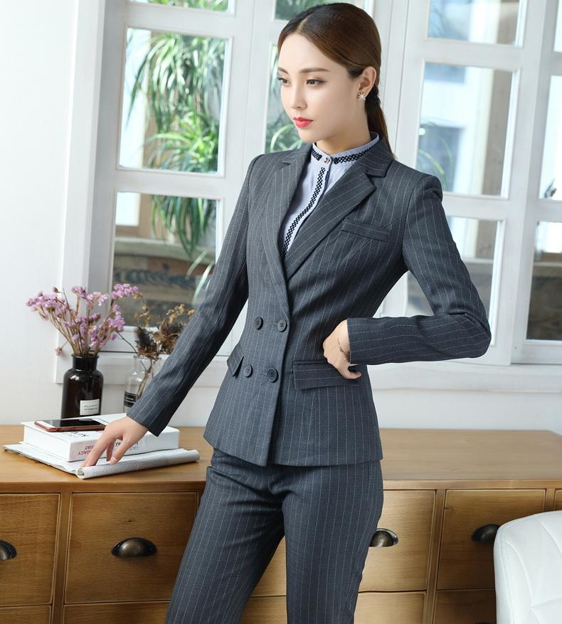 2019 Spring New Work Skirt Suits Sets Double Breasted Striped Blazer