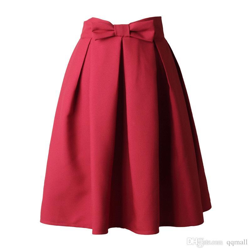 775d06bbc2a34 Causual Bow Plissé Femmes Jupe Patineuse Longueur Au Genou Été Taille Haute  Dames Solide Noir Robe De Bal