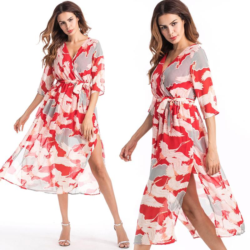 7a509240f2f Bohemian Beach Dress with Red Print Chiffon High Split Sexy Casual ...