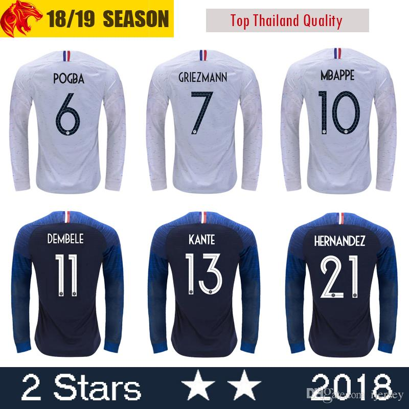 9dddc1bb0e Compre 18 19 França Manga Longa Camisa De Futebol HERNANDEZ 2 Stars 2018  2019 KANTE França MBAPPE Manga Longa Camisa De Futebol GIROUD DEMBELE POGBA  França ...