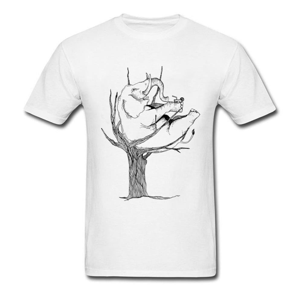 Relax elephant on a tree men pencil drawing white t shirt creative cartoon design male cotton t shirts funny cute animal t shirts only awesome tee from