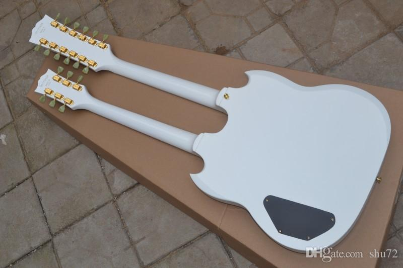 Custom Shop Double Neck, AOEMine White Electric Guitar By Spring,