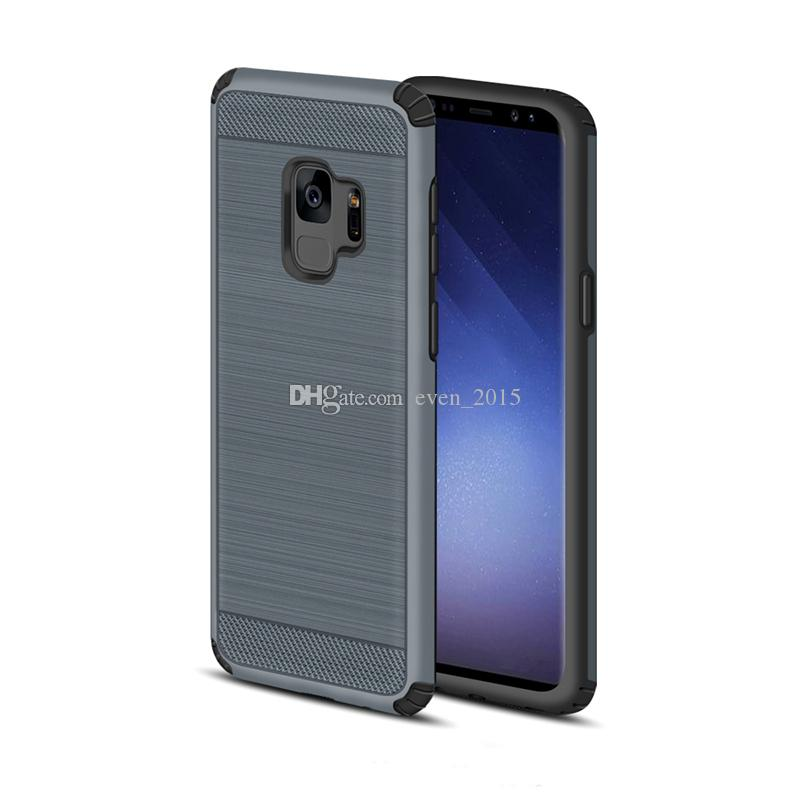 Hybrid Armor Brushed Texture Phone Cases For Samsung S9 S8 Plus J7Prime S7 Carbon Fiber Anti-shock For Iphone X 7 8 Plus cases
