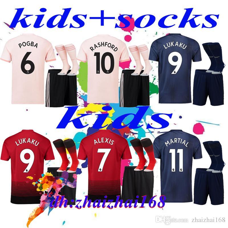 367f8f6d7 2018-19 FC Manchester United Kids Kit + Socks Soccer Jersey 18 19 ...