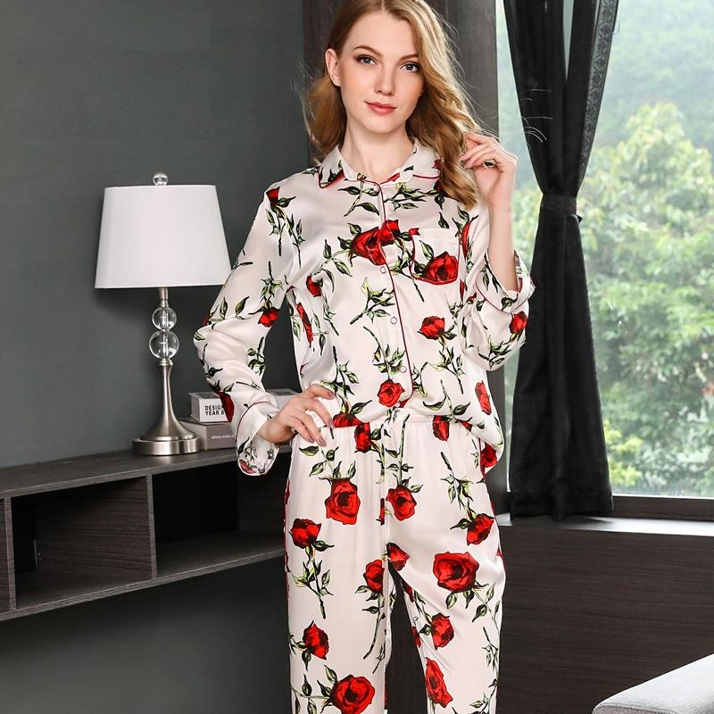 2019 Pijama Feminino 100% Silk Pajama Sets Women Sexy Stain Pajama Set Two  Piece Silk Nightwear Top And Pant Home Wear Sleepingwear From Jellwaygood 8fc5d5c0d