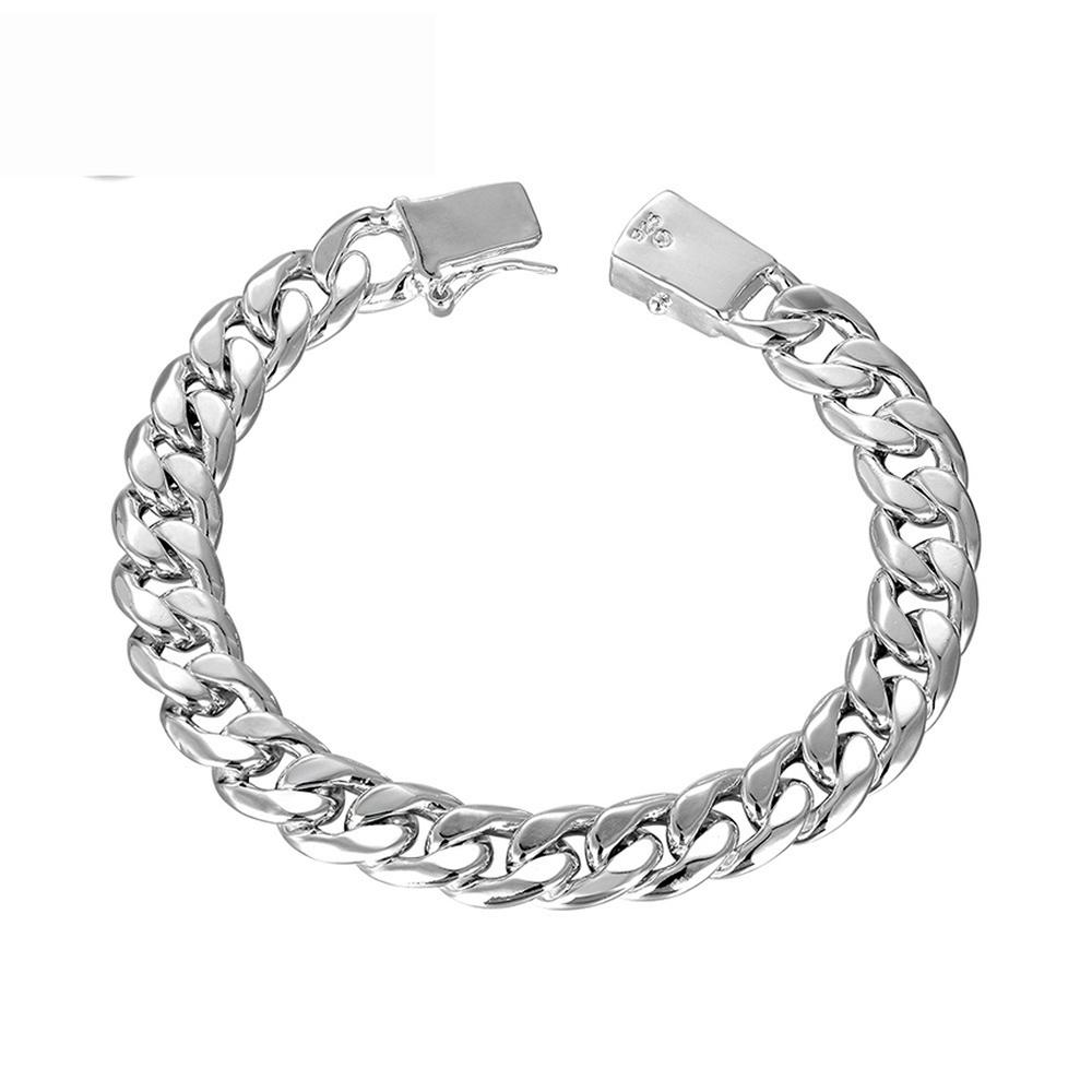 d555c9caa 2019 Creative Fashion 925 Sterling Silver 10MM Square Buckle Chain Bracelet  For Men Trendy Star Street Shooting Style Couple Ornament From Watercup, ...