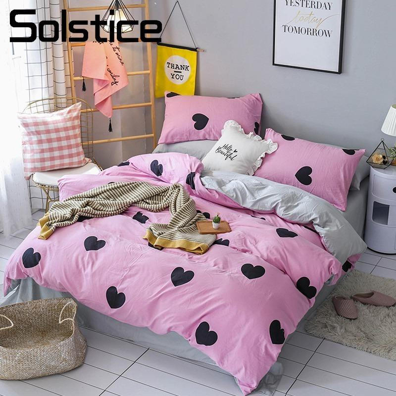 Solstice Home Textile 3 Bedding Set Girl Kid Teen Bed Linen Heart Pink  Duvet Cover Pillowcase Gray Sheet Single Double Size Pink Bedding Sets  Brown Bedding ...