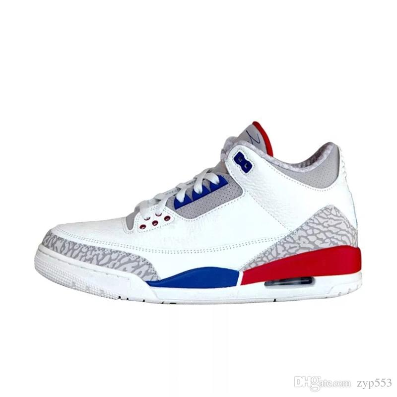 91f3a5a86e08 2018 New 3S Charity Game USA White Cement Blue Red International Flight 3S III  Man Basketball Shoes Sneakers Authentic With Box 136064 140 Basketball Mens  ...