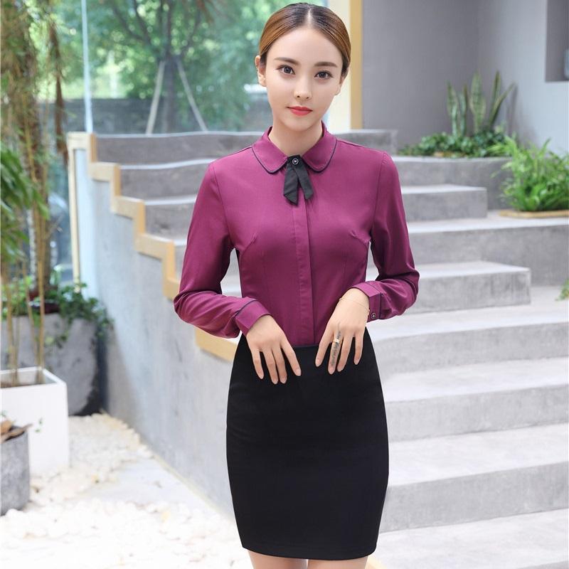b5812e14d Estilos de uniformes formales Trajes de falda con blusas de 2 piezas y  falda para damas Ropa de trabajo de negocios Más tamaño Otoño Invierno