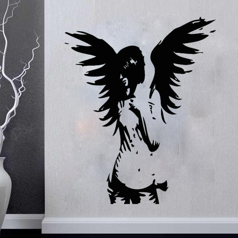 Angel Wall Sticker Giant Banksy Guardian Bedroom Decal Vinyl Wall