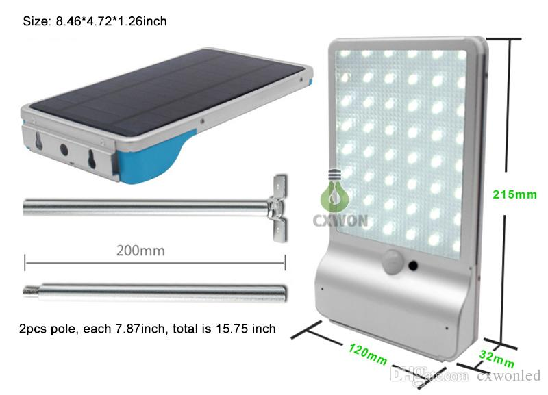 Smart Solar wall lamp 56LED 1000lm Aluminum shell Dimmable remote control solar powered light for outdoor