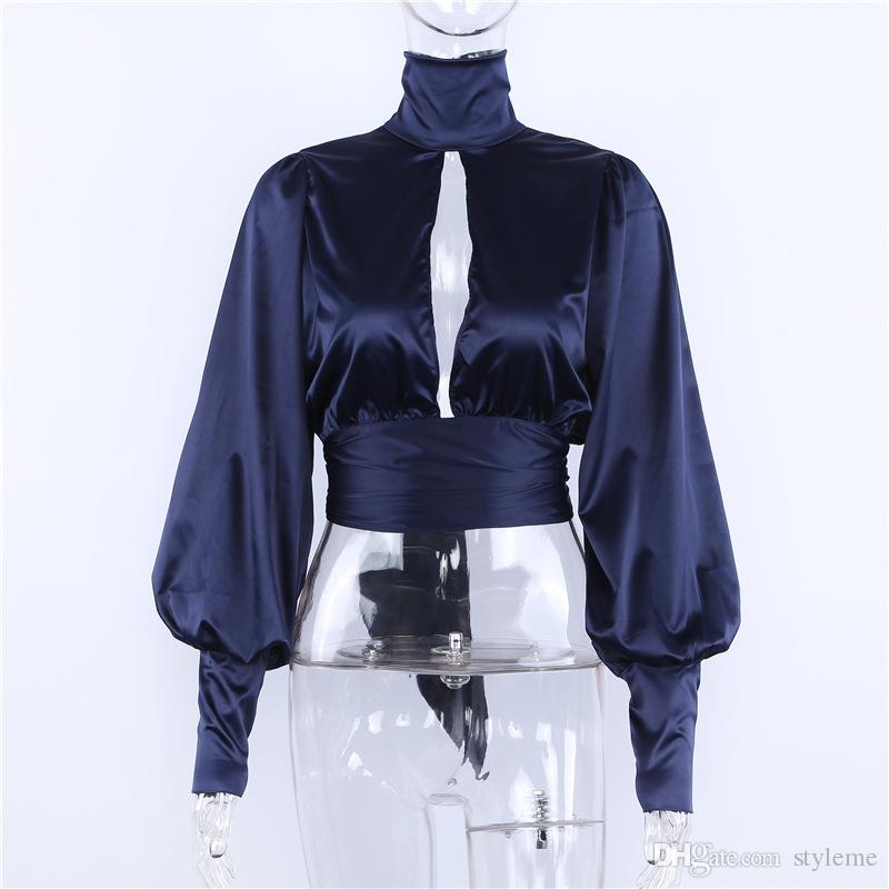 Brand Designer Women Silk Night Out Crop Top 2018 Spring Summer Fashion Satin High Neck Lantern Sleeve Shirts Backless Party Cocktail Blouse