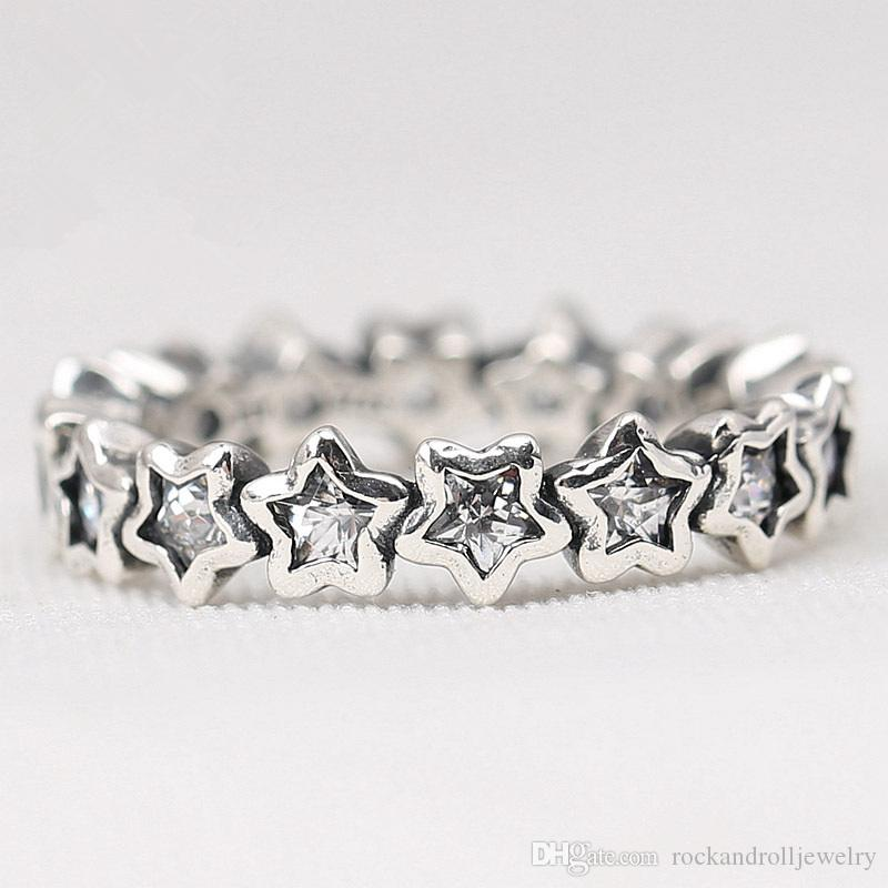 100% 925 Sterling Silver Beaucoup Little Star Clear CZ Charme Anneau Pour Pandora Mode Femmes Bijoux Promotion