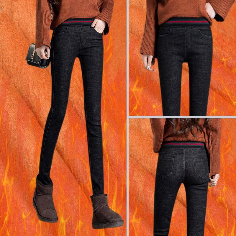 b1f3df11a374 Skinny Warm Jeans für Frau Dicke Samt Winter Warme Jeans Frauen Hohe Taille  Stretch Denim Bleistift Hosen Plus Größe