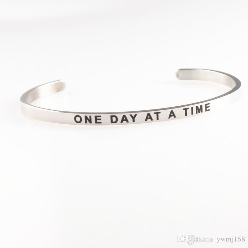 2018 New Stainless Steel Engraved I AM ENOUGH Positive Inspirational Quote Hand Stamped Cuff Mantra Bracelet Bangle For Women Gifts