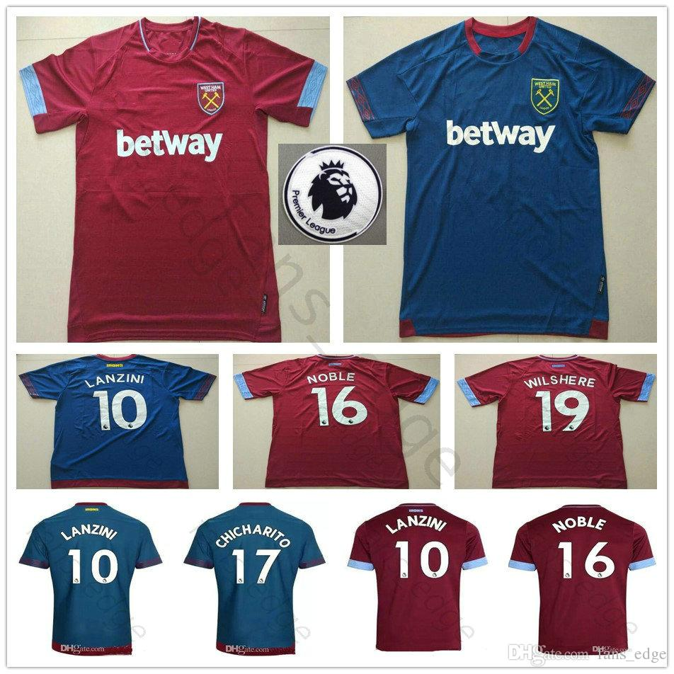 the best attitude b5af9 8c47d 18 19 West Ham United Soccer Jerseys 10 Lanzini 16 Noble 17 Chicharito  Snodgrass Carroll Customize Red Blue Kids And Adult Football Shirts