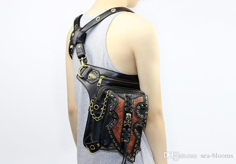 Waist Bag Unisex Steam Punk Holster Protected Purse Shoulder Thigh Motor Leg Bag Belt Bag Men Package Fashion Pack G215S