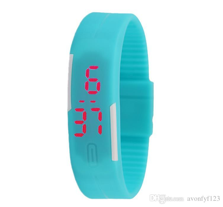 hot 2018 Sports rectangle led Digital Display touch screen watches Rubber belt silicone bracelets Wrist watches a547