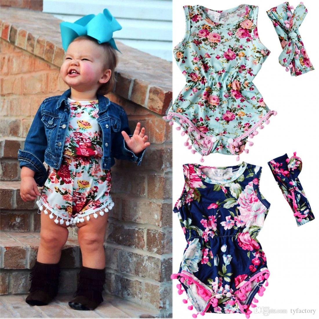 97879368416ff 2019 Cute Baby Floral Romper +Headband Children One Pieces Little Baby  Clothes Babys Clothing 2017 Hot Selling High Quality 0 24M From Tyfactory