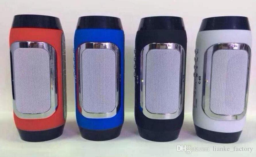 C-65 Wireless Bluetooth Speaker Portable Stereo Pill Pulse Speaker Build in Handsfree Mic FM TF Card Dual Loudspeaker Phone Call dhl free