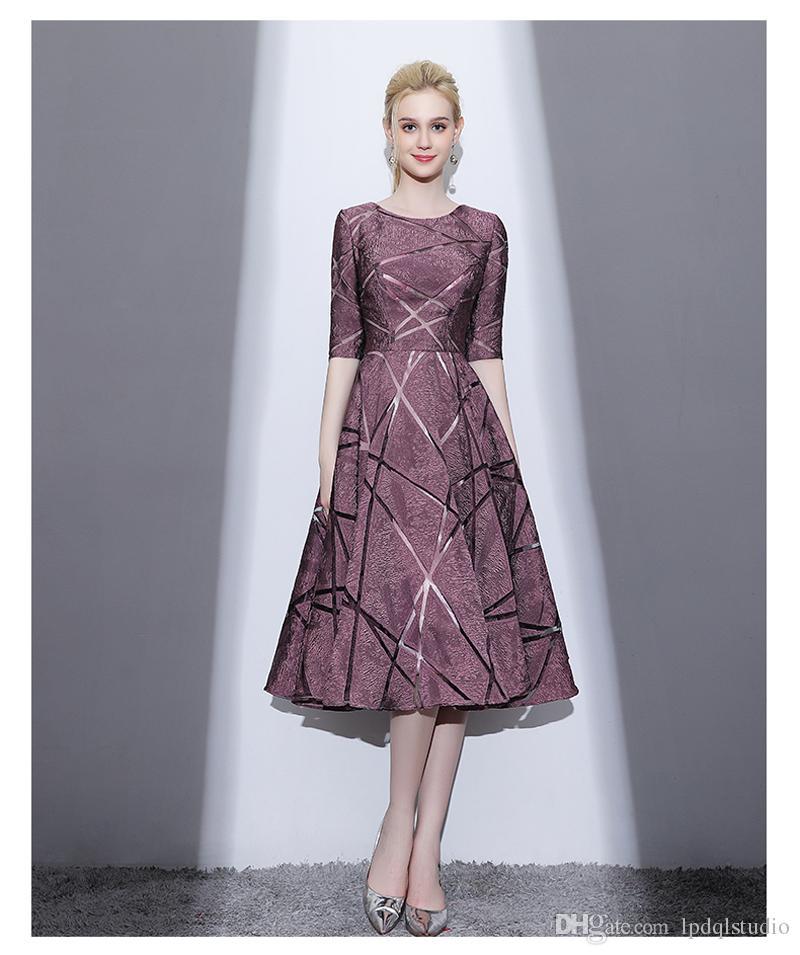 2018 Half Sleeves Bridesmaid Dresses Knee Length Scoop Zipper Back ...