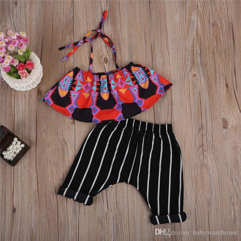 2018 Boutique D'été Filles Set Infantile Enfants Vêtements Bébé Filles Boho Crop Tops + Sarouel Rayé Costume Enfants Toddler Filles Vêtements