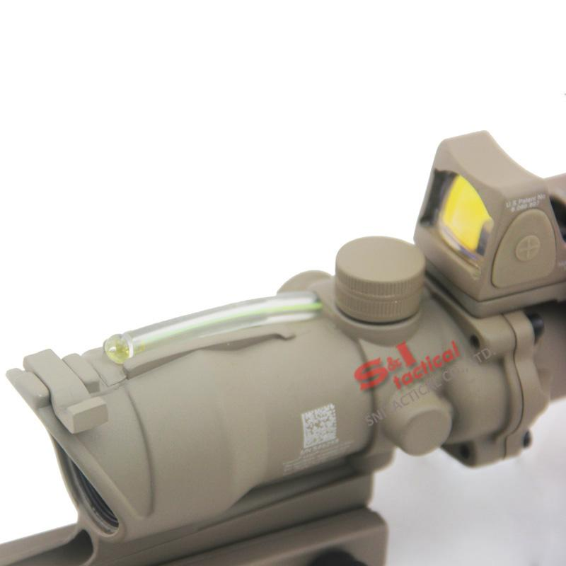 NEW Trijicon ACOG 4x32 Fiber Source Green Optical Fiber Real Fiber Riflescope With RMR Micro Red Dot Sight Dark Earth