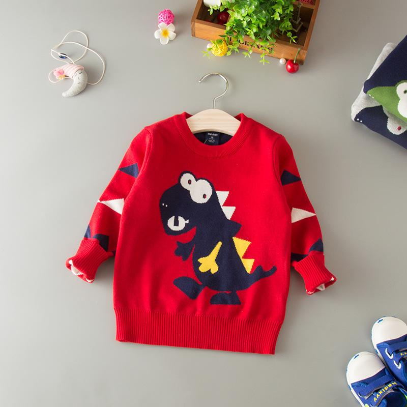 Kids Dinosaur Sweater Jackets For Boys Casual Tops Winter Warm Knitted Baby Outerwear Coat Pullover New Year Children Clothing
