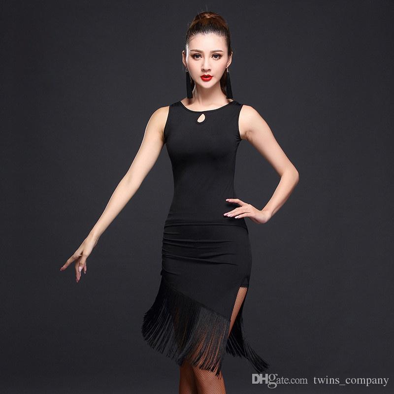NEUE Performance Ballroom Dance Kleid Samba Kostüm Ärmelloses Kleid Frauen Salsa Kleider Latin Kleid für Frauen