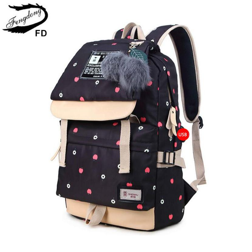 82e439fcd13a FengDong Ball Decoration School Bags For Girls Kids Black Canvas Backpack  Children Backpacks Usb Bag Cute Backpack For School Cheap Small Backpacks  ...