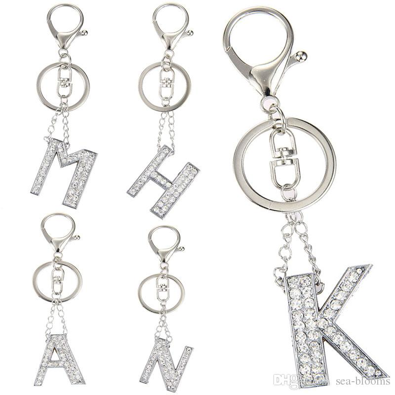 5 Styles English Letters Crystal Initial Charms Keychain Keyring For Women  Bag Accessorices M A N K H Support FBA Drop Shipping G594Q Photo Keychain  Cute ... 0faac5e629