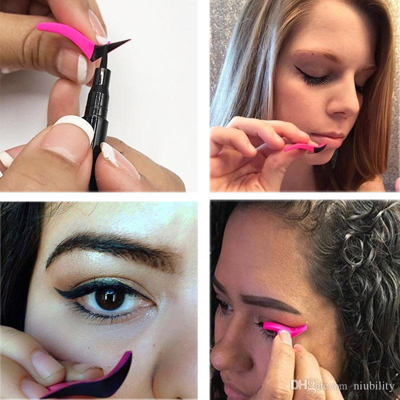 Yeni Eyeliner Damga Göz Farı Kozmetik Kolay Makyaj Kanat Tarzı Araçları Eyeliner Damgalama Stencil maquiagem niubility tarafından ücretsiz kargo