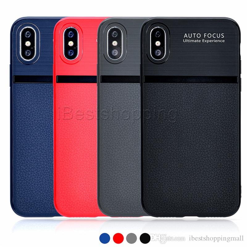 Para la caja suave del iPhone X ultrafinos Anti Slip textura de cuero del teléfono iPhone Cases Cubierta para 8 7 6 5 6S Plus 5S Samsung Note 8 S7 S8 Edge Plus