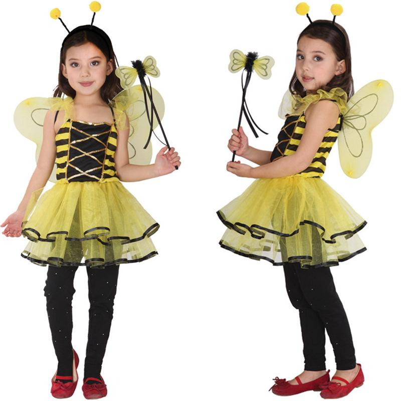 6254aac6bfdf7 Children Kids Halloween Cosplay Costumes for Girls Animal Bee dress with  Hair Sticks Cosplay Clothing for Boys/ Girls Stage show